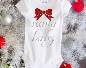 Santa Baby Girl Christmas Bodysuit with Bow