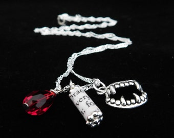 Dracula Recycled Book Page Charm Necklace