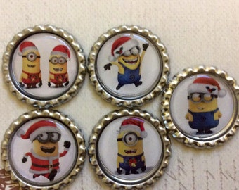SET of 5 - CHRISTMAS Minions Bottle Caps For Pendants, Hairbows Hair Bow Centers - Ready to use