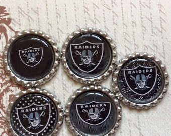 SET of 5 -Raiders Bottle Caps For Pendants, Hairbows Hair Bow Centers - Ready to use