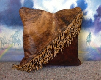Cowhide Fringe Pillow