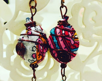 Earring with cotton Colorful ceesecloth, authentic turkish yemeni
