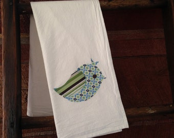 Floral/Striped Bird Dishtowel - 100% cotton flour sack towel