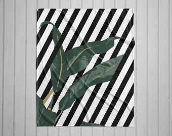 Striped banana leaf plush throw blanket with white back