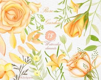 watercolor rose garden, 18 floral elements, watercolour clipart, flowers clip art separate flowers, diy art, wedding invitation.