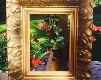 Antique Large Gold Picture Frame / Vintage Large Painting in Gold Frame  / Gold Picture Frame / Gold Solid Wood Frame / Carved Gold Frame