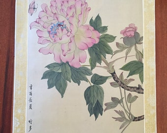 Chinese Watercolor on Silk Art / Oriental Peonies Painting on Silk Picture  / Vintage Chinese Art