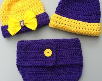 Baby Tigers Diaper Cover Beanie Set - LSU Diaper Cover Set