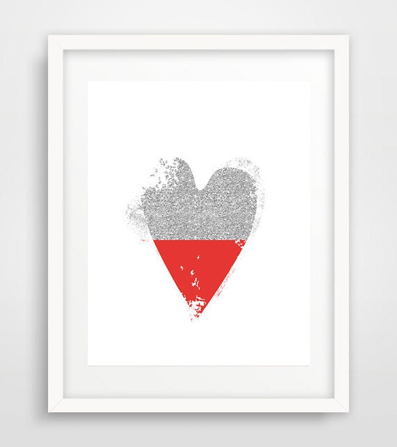 Wall Art Love Heart : Heart art love modern wall print baby room
