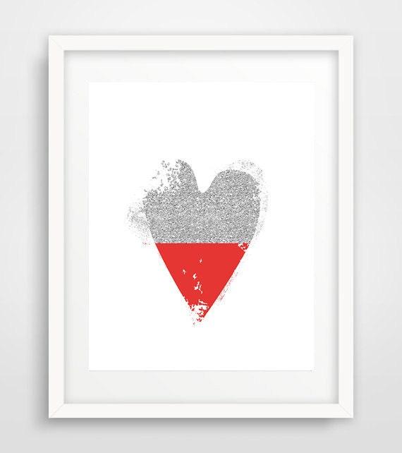 Wall Art Love Hearts : Heart art love modern wall print baby room