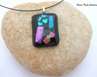 Dichroic glass necklace,dichroic glass jewelry,unique necklace, french jewelry,dichroic pendant,handmade necklace