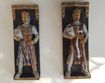 A pair of French TEMPLARS  Treasure KNIGHTS vintage Plaster Antiques