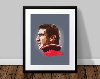 Eric Cantona Illustrated Poster Print | A6 A5 A4 A3