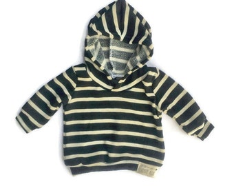 Baby Toddler Black and Cream Stripes Hoodie