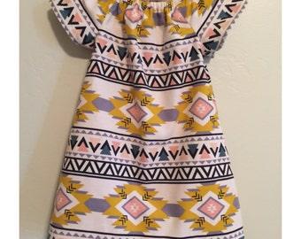 Little girl dress- Baby dress- Aztec print corduroy dress