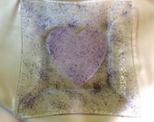 """6"""" PINK & LAVENDER HEART Texture Plate Fancy Decorative Fused Glass H5"""