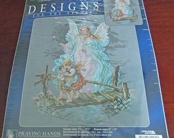 Designs For the Needle 114914 Guardian Angel Counted Cross Stitch Kit Praying Hands Collection Leisure Arts 14 Count Aida
