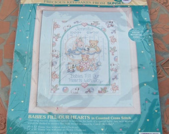 Baby Hugs Counted Cross Stitch Kit 13556 Precious Keepsakes  Babies Fill Your Heart Birth Record Carol McAulay Sunset Dimensions New Sealed