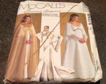 McCall's Sewing Pattern M4378 Misses Petite Cape And Lined Dresses 18-24 Gown Medieval Renaissance Wedding Theatre Play Cosplay