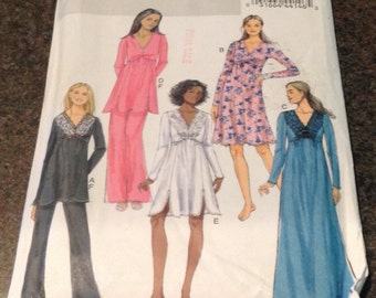 Butterick B5688 Sewing Pattern Top Grown Pants Night Gown Lingerie Size XS S M L XL XXL