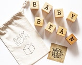 Personalized Name Natural Wood Toy Block Set with Heat Stamped Letters - Personalized Gift for Babies and Children