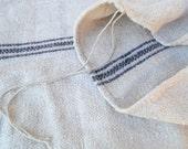 Vintage Grain Sack / Antique Handwoven Fabric / Blue Stripes Linen Fabric / Blue Stripes Pillow Cover Fabric / Hay Sack Hand Loomed Hemp