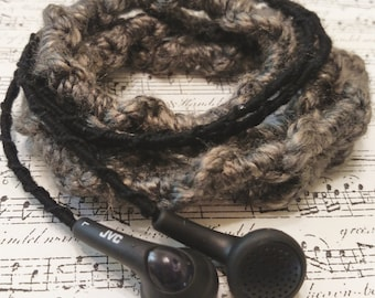 Embroidered Headphones - Black with Brown Yarn
