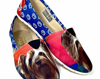 YORKSHIRE TERRIER SHOES, animal lovers, dog breeds, yorkie puppies, slip ons, puppies, Yorkshire terrier, women shoes, hush puppies