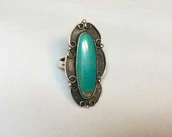 Sterling Silver Turquoise Ring-Sz 6