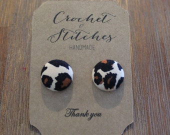 Cheetah print Earrings ~ Button earrings ~ Ladies Earrings