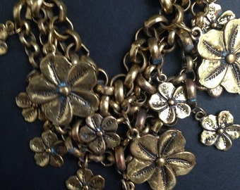 Heavy Brass Floral Charm Necklace