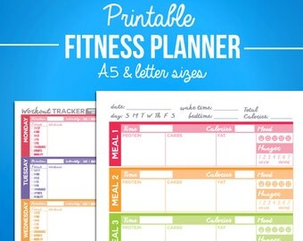 Printable Fitness Planner - Nutrition & Workout Bundle - A5 and Letter Sizes - Digital PDF - Diet, Weight Loss, Exercise Journal Diary