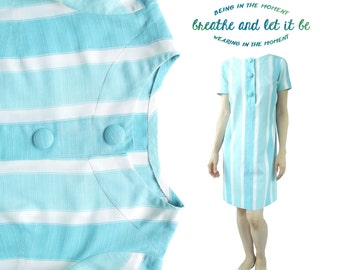 Vintage Light Blue White Striped Midi Dress | Handmade Mod Dress With Buttons | breathe and let it be