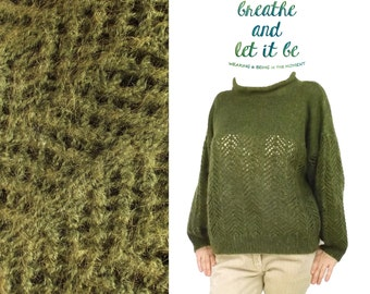 Vintage Hand Knitted Dark Olive Green Sweater / Size XS/S/M