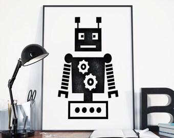 Set of four retro robot photo art prints wall art for kids for Robot room decor