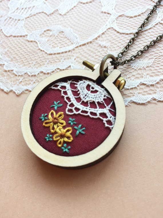 Mini Embroidery Hoop Burgundy Pendant By PlaidLoveThreads On Etsy