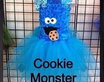 Cookie Monster burthday costume, tulle birthday costume, Cookie Monster