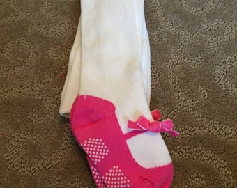 Pink mary jane leggings, mary jane leotards, white pink leggings