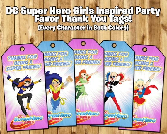 DC Super Hero Girls Inspired Favor Tags - DC Super Hero Girls Birthday Party Favor Tags Download Print DC Super Hero Girls Loot Bag Tags