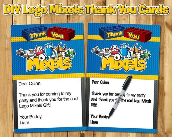 Lego Mixels Birthday Thank You Note - Lego Mixels Thank You - Download Edit Print Lego Mixels Birthday Thank You Customizable Lego Thank You