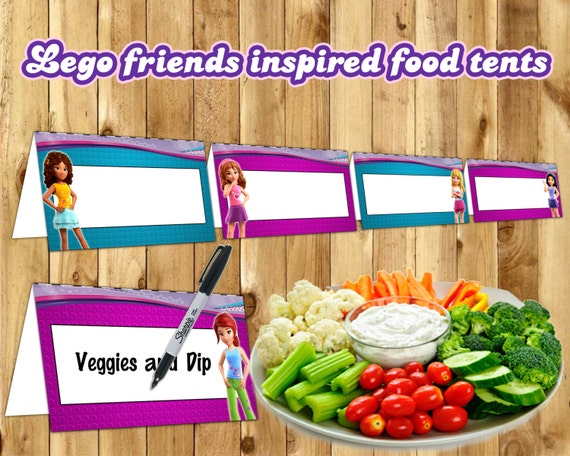 Lego Friends Inspired Food Tent Cards Lego Friends Food Tents instant download Lego Friends Birthday Decoration Friends Place Holder Card
