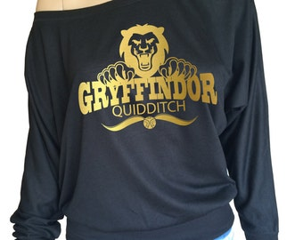 Harry potter inspired Gryffindor Quidditch, Ladies Flowy Off the Shoulder Long Sleeve t-shirt.