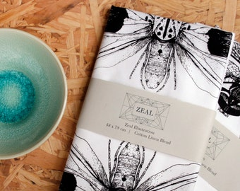Hand Screen Printed Moth Tea Towel - Ethically Made Insect, Wildlife Print Design