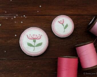 Embroidered fridge magnets - pink flower magnets