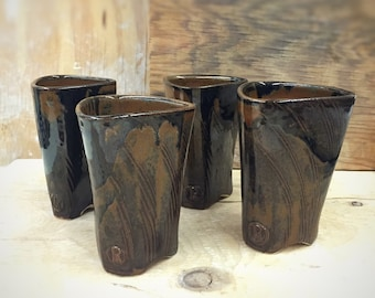 Set of 4 Handmade Triangular Pottery Tumblers 12 oz