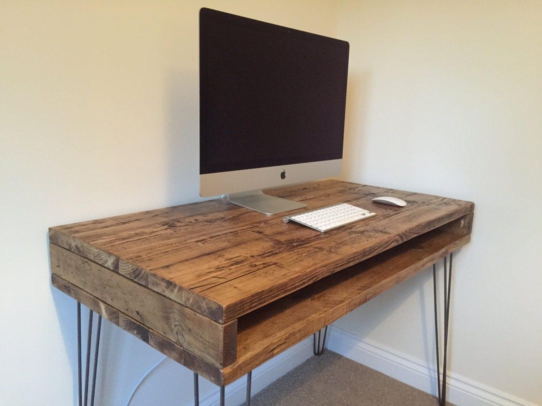 Reclaimed Pine Rustic Box Desk Solid Wood Dressing Table Metal