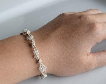 Glass Bead Cluster Bracelet, White