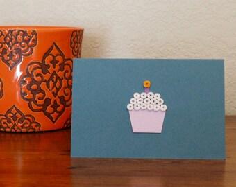 Birthday Notecard - Gray-Blue & Purple, Blank and Handmade