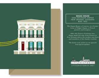 New Orleans Greeting Card, Degas House, French Degas Painter, Architecture Louisiana