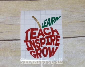 Teacher decal/ Teacher apple decal/ teach inspire grow learn encourage